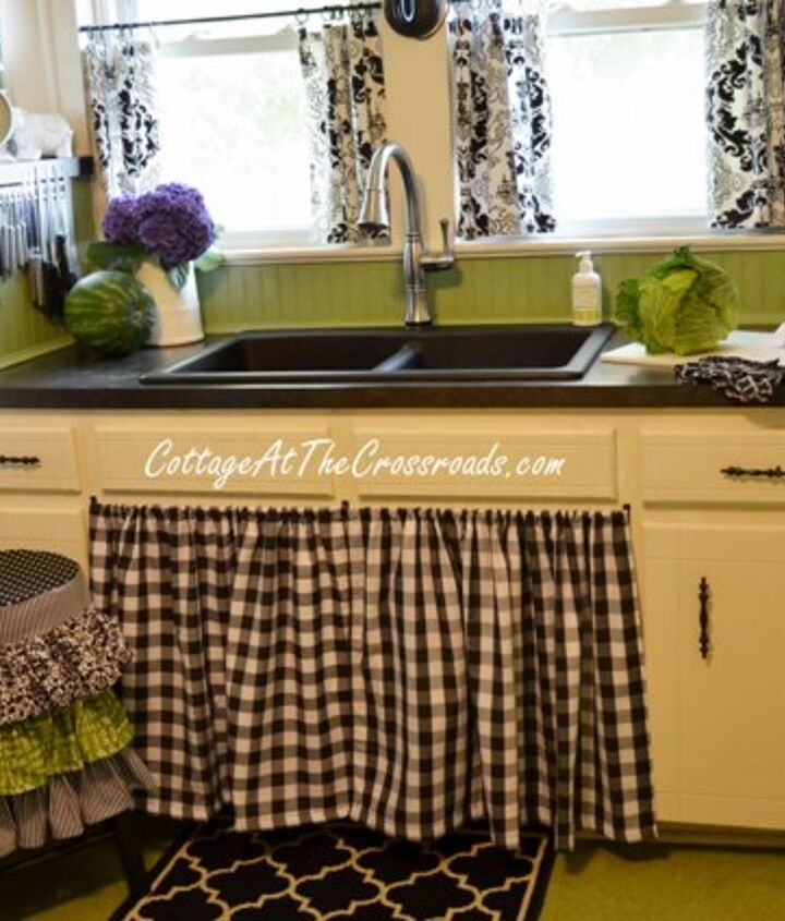 The stool cover coordinates with other black and white items in our kitchen.
