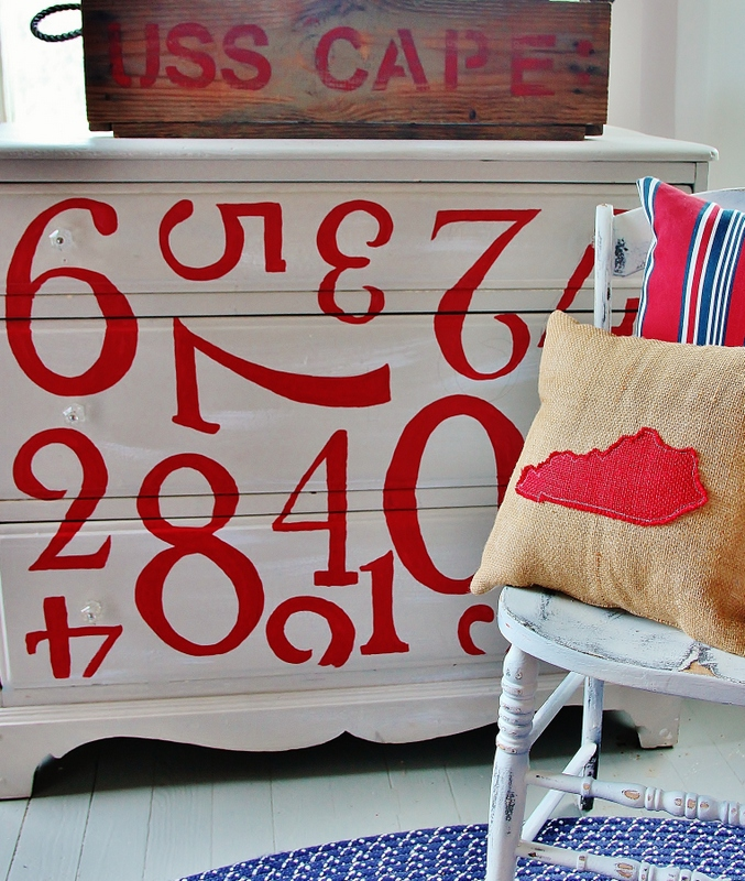 Here's the finished dresser with numbers....creating a fun, vintage look!