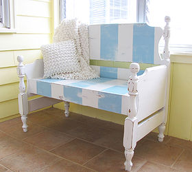 Turn That Unwanted Twin Bed Into A Useful Bench, Decks, Outdoor Furniture,  Painted