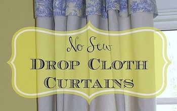 no sew drop cloth curtains with toile topper, crafts, reupholster, window treatments