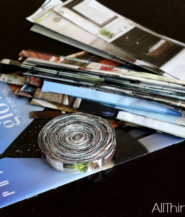 magazine coasters made from a pottery barn catalog, crafts, repurposing upcycling