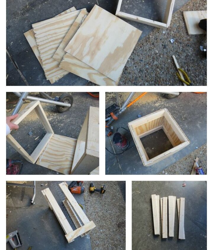 This is a photo of the box making process. To be honest...none of them are perfectly square but appear that way. :) The chicken wire box is rectangle, only because I didn't have enough wire for it to be any larger.