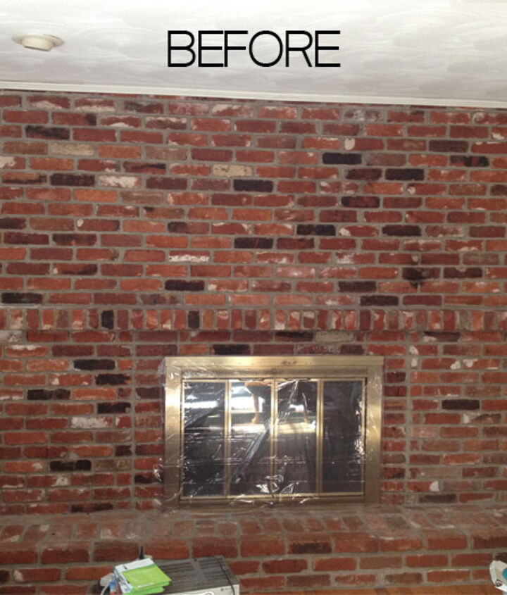 1973 old brick fireplace, floor-to-ceiling. It left the family room dark and dreary.