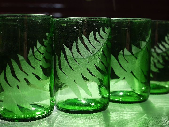 glass etching turns old bottles into something beautiful, crafts, repurposing upcycling