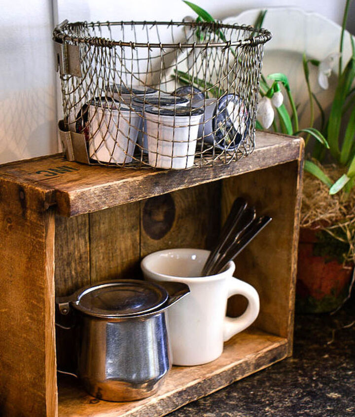 The create became a rustic shelf of sorts and the basket was the perfect place to grab a new pod at coffee time. I love that you can also see the coffee labels as well. Simple, easy and warm! :)