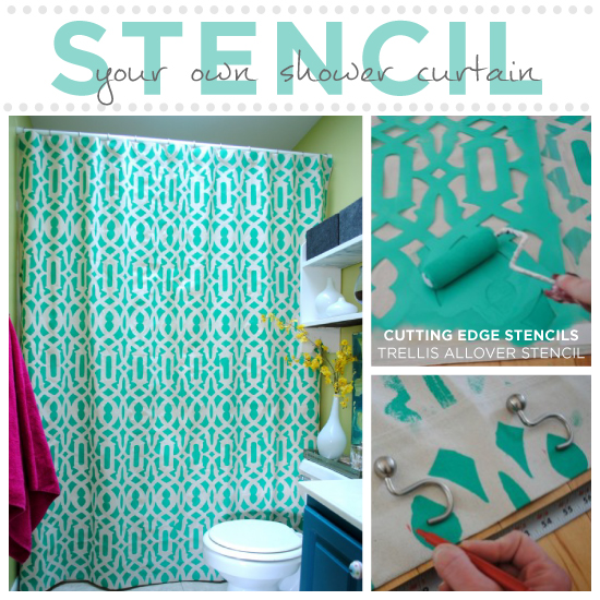 learn how to stencil your shower curtain, crafts, painting