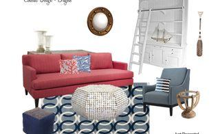 coastal decor and design, home decor, living room ideas, Traditional Coastal with brights