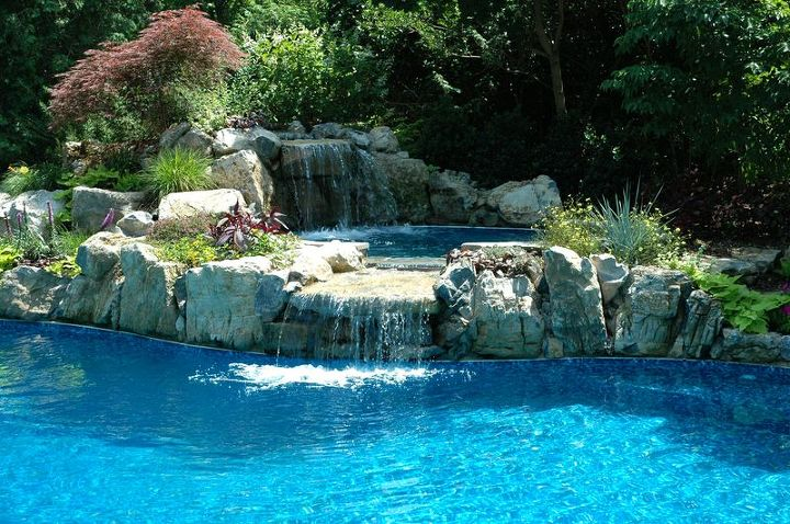 spill over spa with waterfall perhaps the best of its kind, landscape, outdoor living, perennial, ponds water features, pool designs, spas, Spa With Waterfall