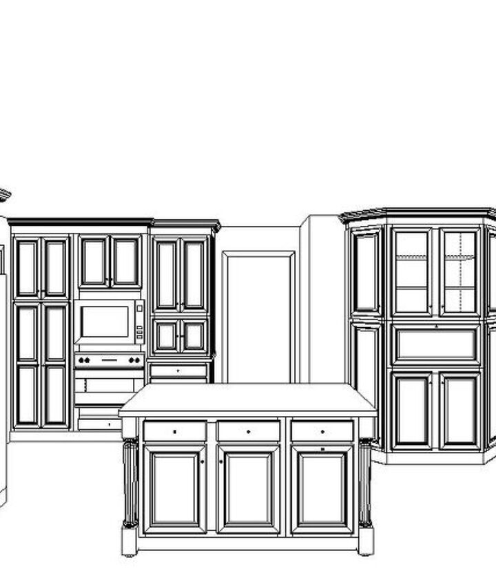 Perspective of island, micro-oven and hutch
