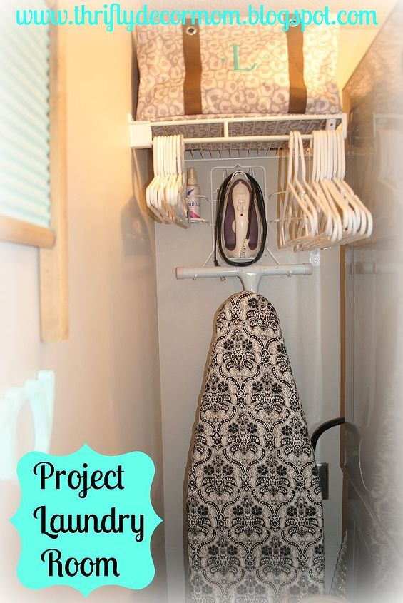 laundry room, cleaning tips, laundry rooms, shelving ideas, storage ideas, Shelf was added for storing hangers Iron board stored up and out of the way