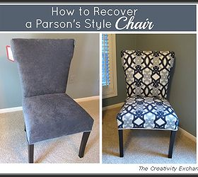 How To Recover A Parsons Style Chair, Reupholster, I Purchased A Winged  Parsons Chair