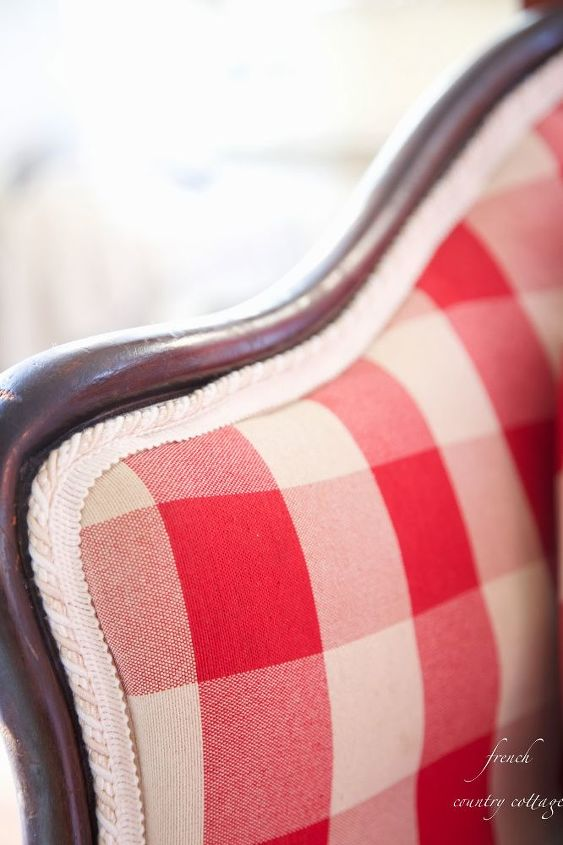 red checked settee, bedroom ideas, home decor, painted furniture, reupholster