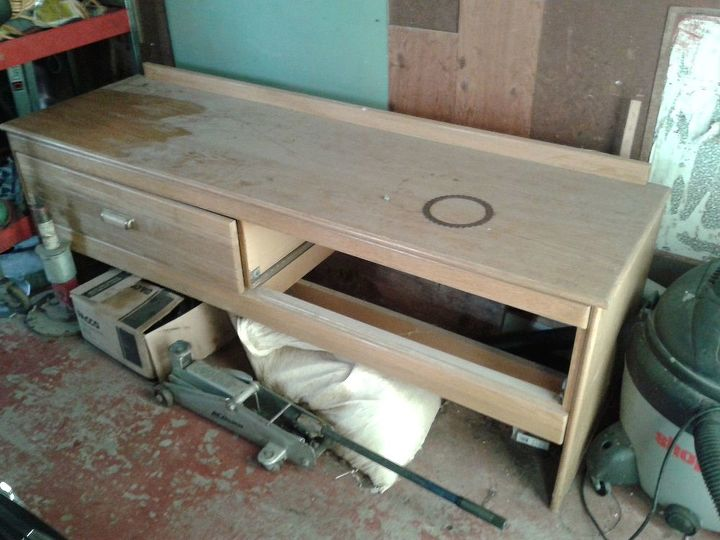 old hotel credenza made into entryway or bed bench, painted furniture, repurposing upcycling, definitely before