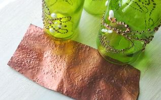 soda can faux hammered copper texture, crafts, repurposing upcycling