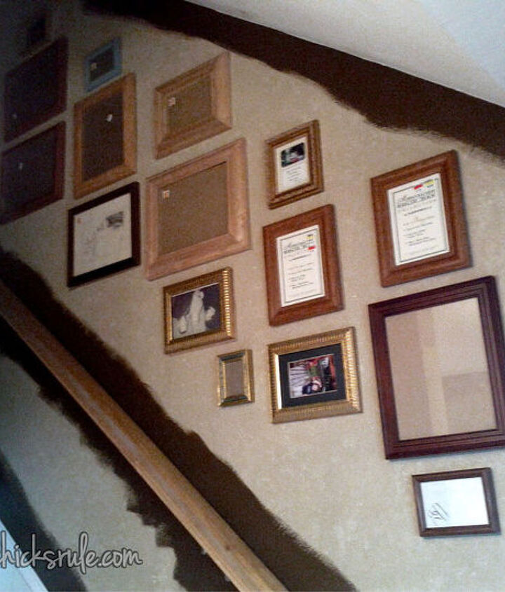 a gallery wall the thrifty way, home decor, Inexpensive way to create your gallery wall frames from the thrift store and garage sales Painted to match