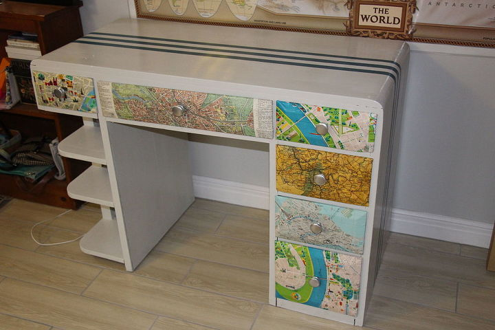 updated desk for teenager who loves to travel, painted furniture