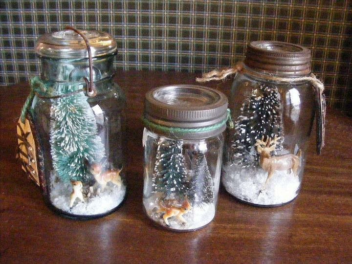 Three vintage mason jar snow globes