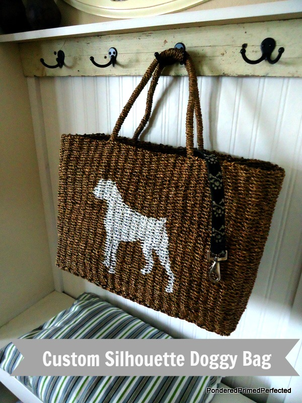 DIY dog silhouette added to a woven bag creates the perfect doggy travel bag