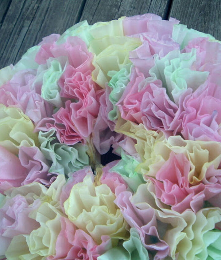 Make this dyed coffee filter wreath for your spring door!  http://www.thecountrychiccottage.net/2011/03/spring-wreath-with-coffee-filters-and.html
