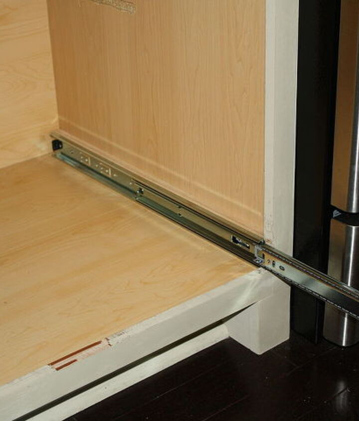 making a kitchen cabinet more functional, kitchen cabinets, shelving ideas, Added rails