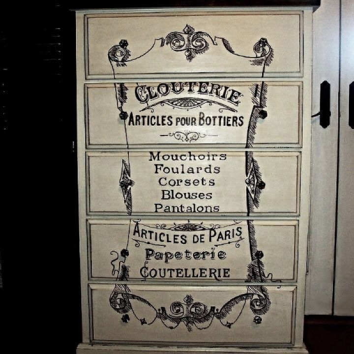 a discarded dresser gets a french clouterie makeover, painted furniture, After Hand painted distressed and new hardware