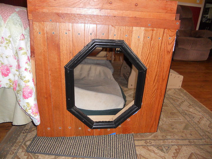 dog beds, repurposing upcycling, woodworking projects, Entry on the right allows pups to enter exit or just run through