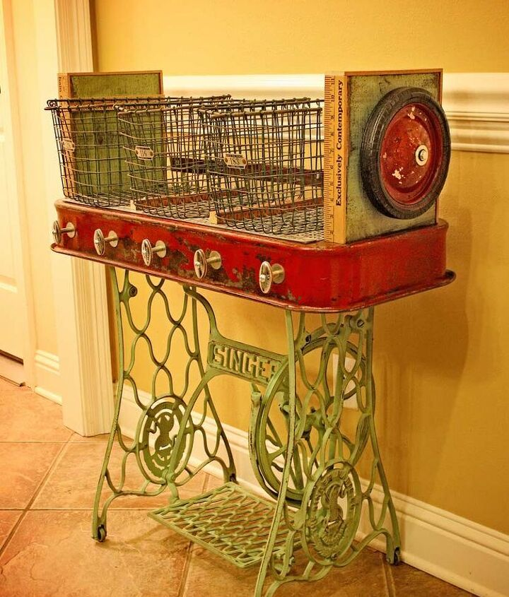 Repurposed Red Wagon Sewing Machine Base Storage Table by GadgetSponge