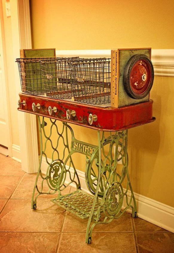 repurposed red wagon sewing machine base storage table, painted furniture, repurposing upcycling, Repurposed Red Wagon Sewing Machine Base Storage Table by GadgetSponge