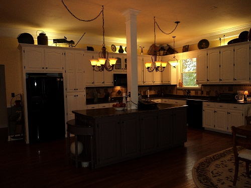 Not sure why this picture is so dark, it's a very light and bright kitchen!