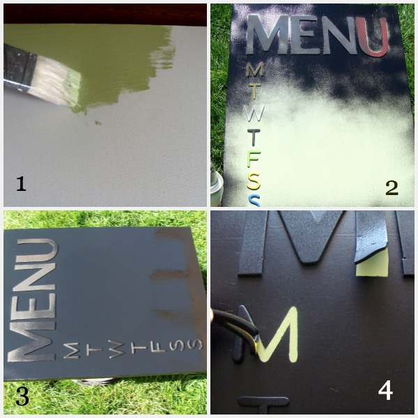 It's a simple 2-color paint process: paint the first color, apply stickers, spray the black paint and let dry.