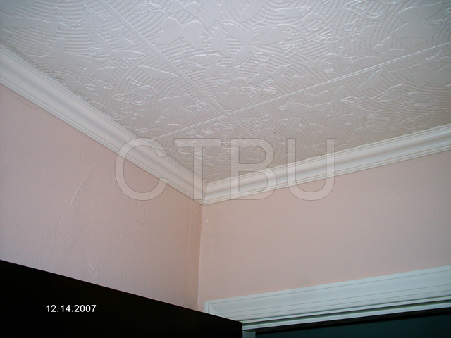 Diy Styrofoam Ceiling Tile Over Water Stained Popcorn Home Maintenance Repairs
