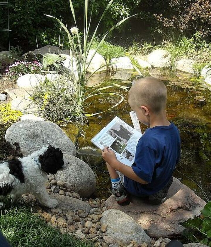 Such fun reading to your pup by the pond!
