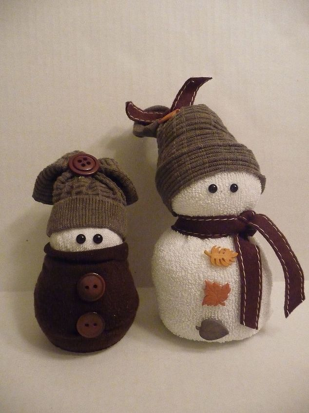 These two are made entirely of beans. It makes them really heavy, but they won't fall over. I used fall colors for them. They really can be left out all season.