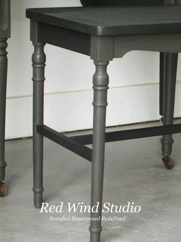 In order to achieve dimension without contract in the paint, I chose Raven and Cast Iron FAT Paint colours. The subtle difference is just enough to enhance the different parts of the vanity and stool. Once the 2 coats of paint were on and dry I applied natural wax. I allowed it to dry up a bit then buffed the entire piece with 0000 steel wool. A very light distressing was achieved along with a smooth satin finish.