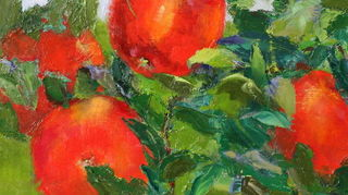 , September Apples 11 x 14 original oil Pamela Sweet