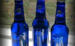 blue bottles and beer bread, repurposing upcycling, Bud bottles in blue sparks garden projects and bread recipes among Flea Market Gardeners