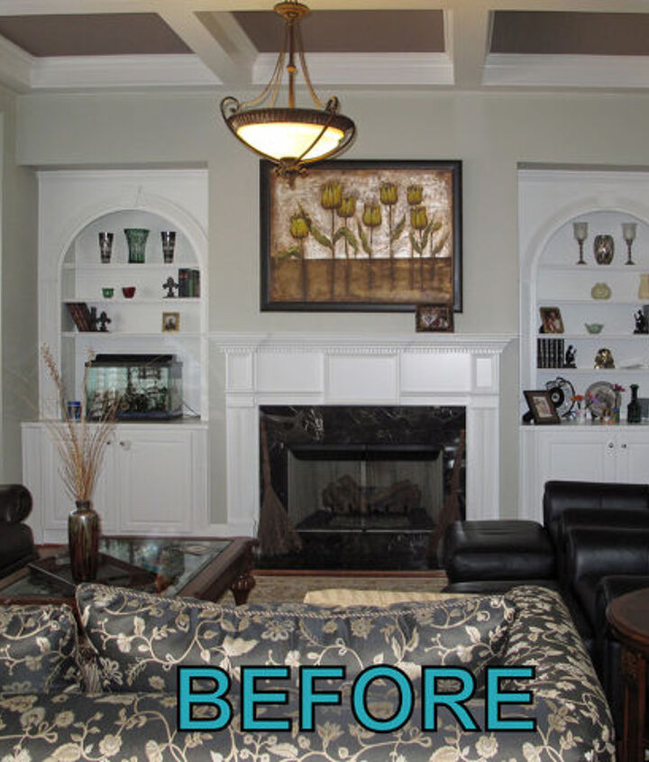 BEFORE. . . builder grade white bookcases and mantel.