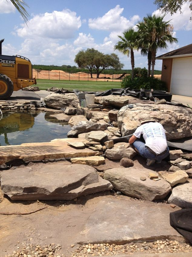 this is a 10k gal koi pond it had a bead filter and uv lights we changed it to a, outdoor living, ponds water features, working on the 10k gal Koipond