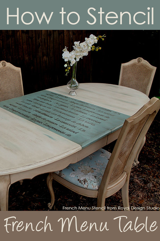 Read full how-to here: http://www.royaldesignstudio.com/blogs/how-to-stencil/7361448-furniture-stenciling-french-menu-lettering-stencil