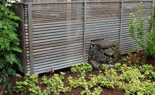 cedar fence and moss covered boulder, fences, Cedar screen fence in Lake Oswego Oregon by Ross NW Watergardens