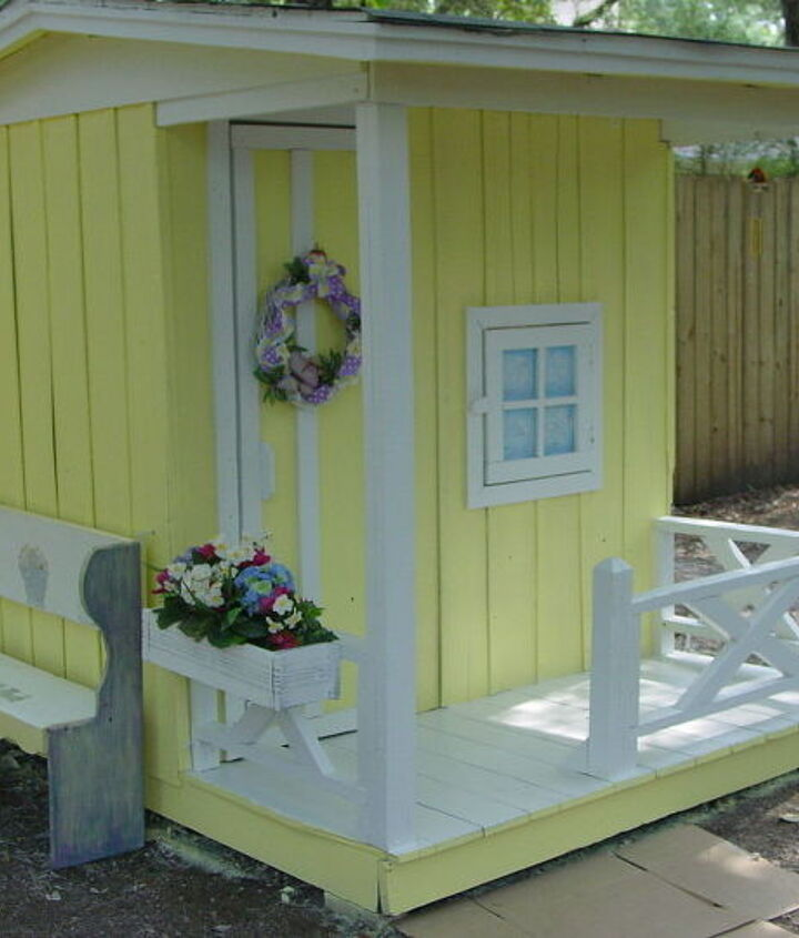 my granddaughter s playhouse, diy, how to, fire pit, repurposing upcycling, All done and ready for fun times