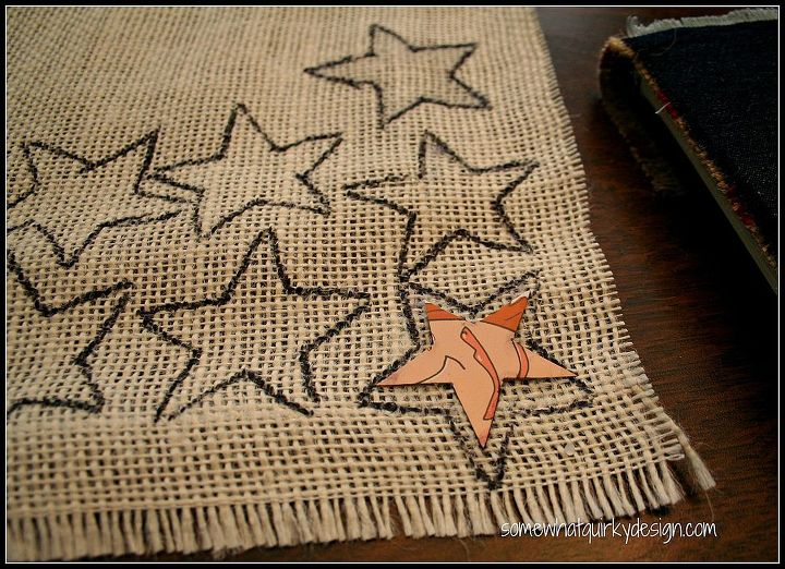 want a quick patriotic decoration for your door for the 4th, crafts, patriotic decor ideas, seasonal holiday decor, Cut the stars from white burlap