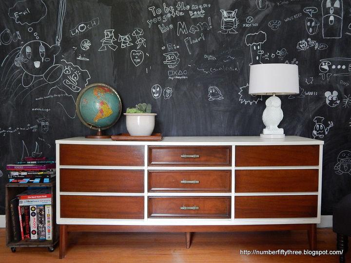 repaired refurbished mcm dresser, painted furniture