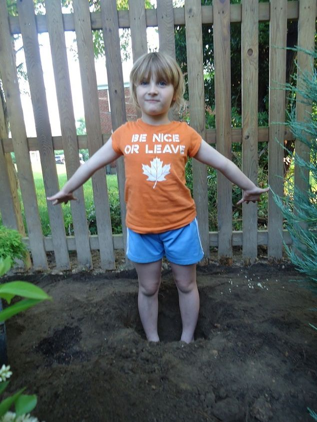 landscaping building but with plants and stones, gardening, landscape, My 6 year old helps with a planting