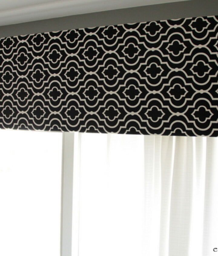 DIY Black and white fabric window treatment over our large kitchen sliding door