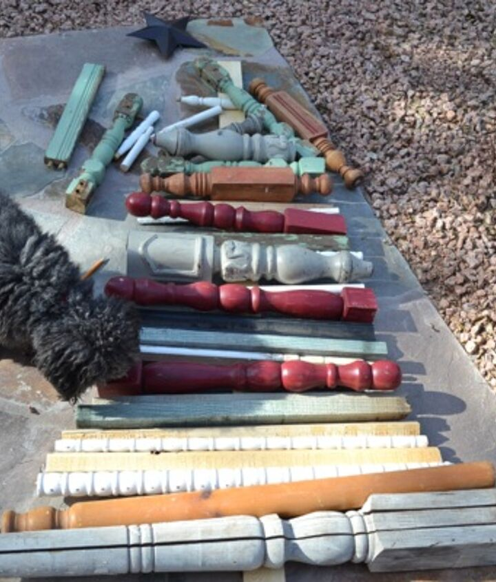 1. Mike a pile of spindles.  I had a little helper!