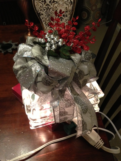 light up glass block christmas present