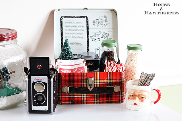cozy hot cocoa station for the holidays, christmas decorations, seasonal holiday decor, Hot cocoa station with a vintage theme