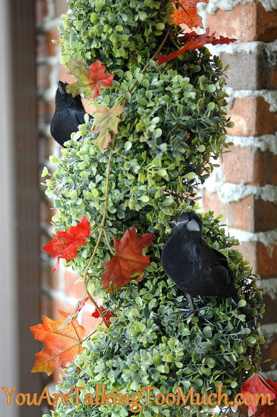 Dollar Tree ravens and Dollar Tree 5ft fall garland. Add to existing decor for fun fall decorations!