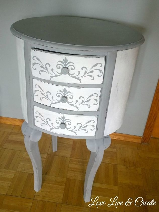 round damage dresser transformed into french jewelry armoire, painted furniture
